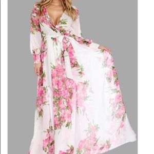Sheer White and Pink Maxi Dress
